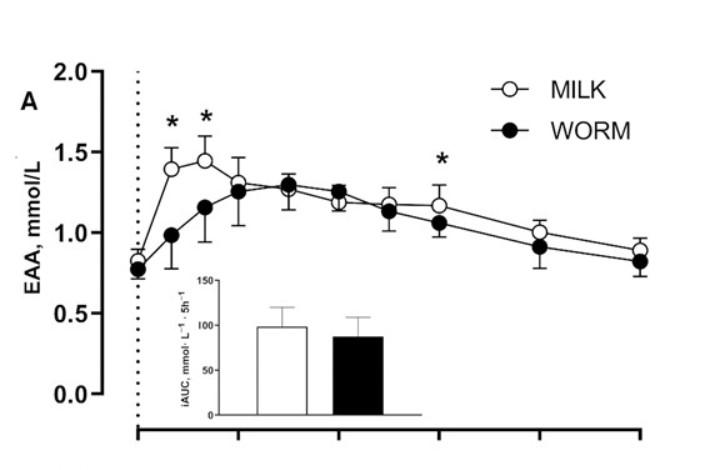 吃蟲與乳蛋白後的必須氨基酸是沒有顯著差異的